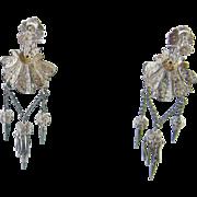Antique Italian Sterling Silver Shell Shape CANNETILLE FRINGE Drop Earrings