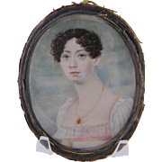 Antique American Woman in White and Pink Circa 1830 MINIATURE PORTRAIT