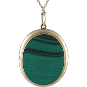 Antique Russian 14 Kt  GOLD MALACHITE Hallmarked Locket Pendant