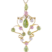 ANTIQUE GOLD SUFFRAGETTE Peridots and Tourmalines with White Sapphires Pendant
