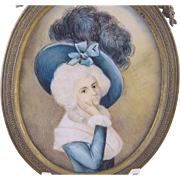 Antique French  18th C Court of Louis XVI  WOMAN MINIATURE PORTRAIT