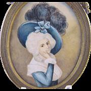 Antique French  18th C Court of Louis XVI  WOMAN MINIATURE PORTRAIT