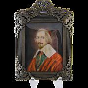 Antique 1800'S  Gentleman of the Clergy  CARDINAL RICHELEU MINIATURE Portrait