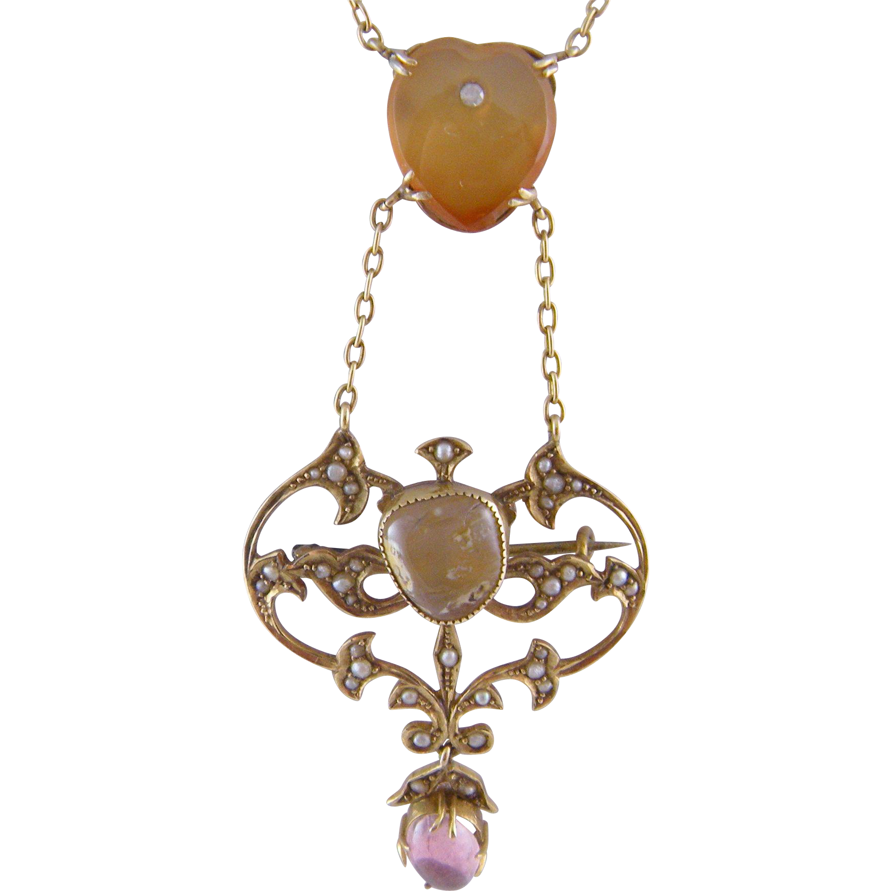 Antique 15 Kt Gold Carved Heart with  CARNELIAN AMETHYST SEED PEARLS NECKLACE