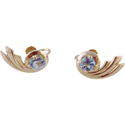 Vintage Retro 14 Kt Gold  with AQUAMARINES Fabulous Earrings