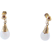 Vintage 14 Kt Gold Pat Pending Opals  SNOW GLOBE Earrings