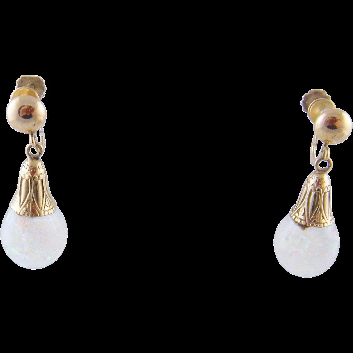 Vintage 14 Kt Gold Pat Pending Opals  SNOW GLOBE Earrings