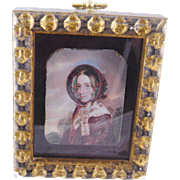 Antique 19th C English Woman ala Jane Eyre in Notched Frame MINIATURE PORTRAIT