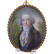 Antique 18th C Beautifully Painted Gentleman  MINIATURE PORTRAIT