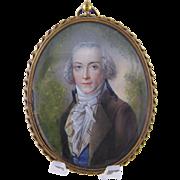 Antique 18th C Beautifully Painted Gentleman  MINIATURE PORTRAIT