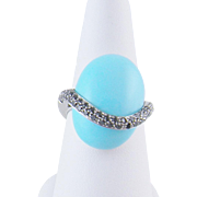 Stunning 18 Kt Gold Robins Egg Blue TURQUOISE DIAMONDS Modern Ring