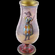 Rare Antique Vienna Viennese Austrian  ENAMEL HARLEQUIN w MASK Commedie del Arte Vase