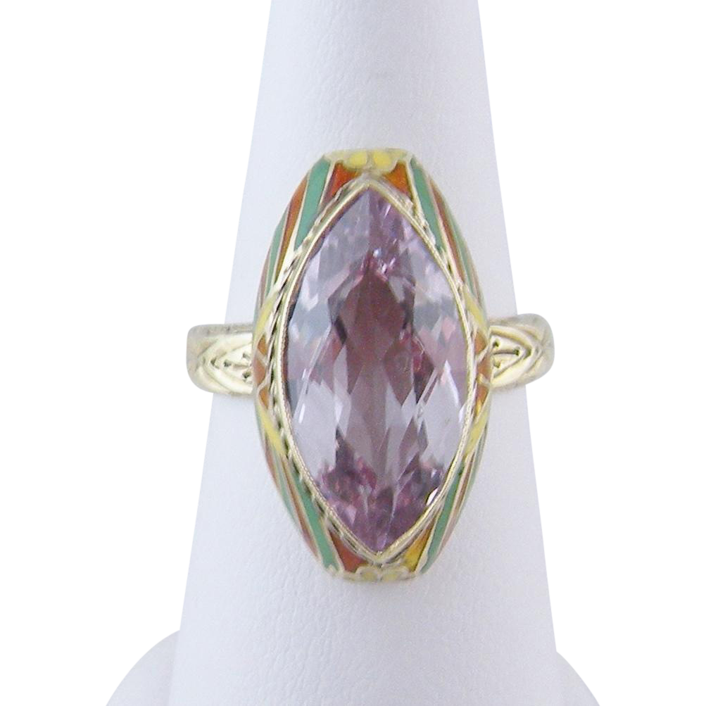Antique Art Deco 14 Kr Gold with Amethyst and Enamel HARLEQUIN STYLE Ring
