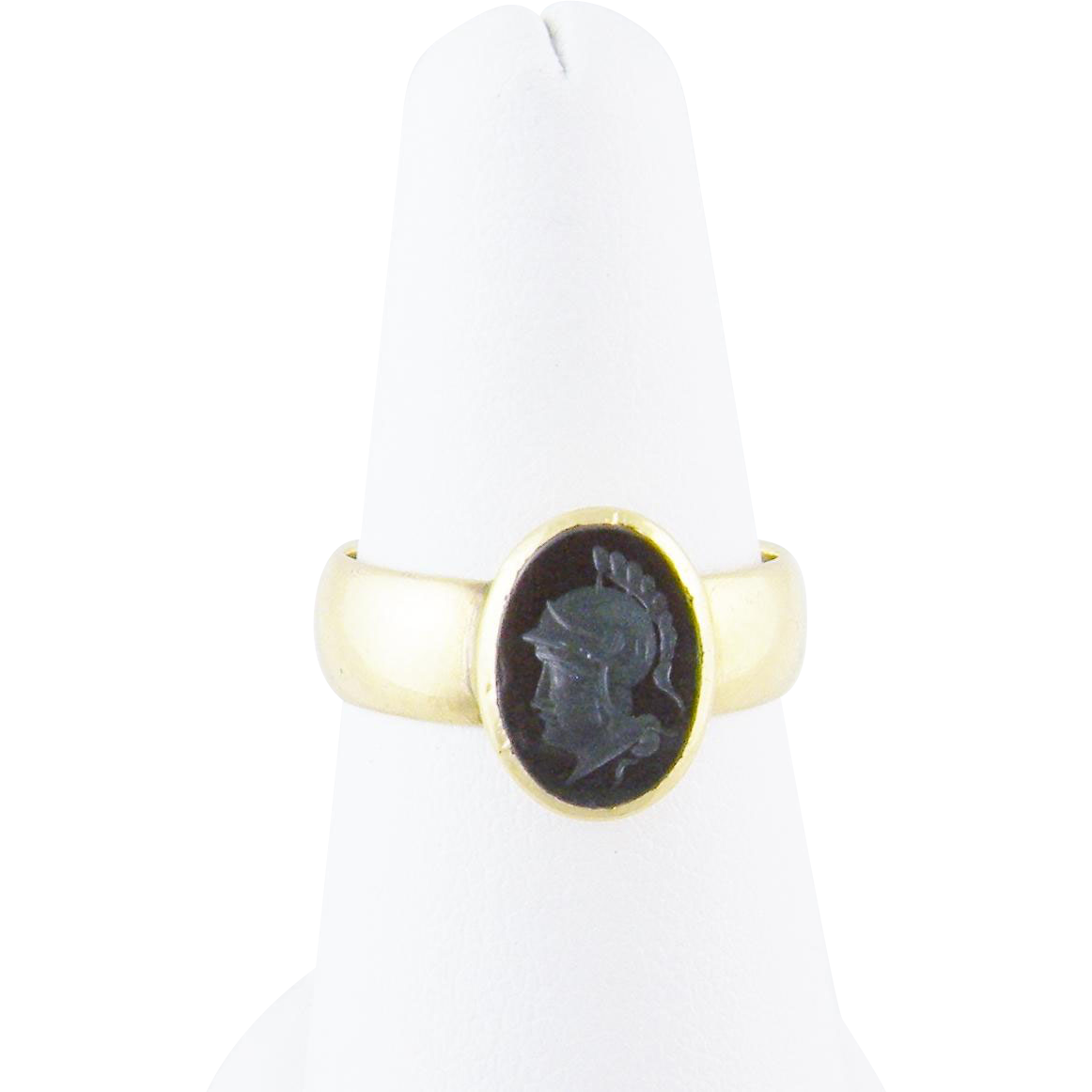 Antique Victorian 18 Kt Gold  CARVED HEMATITE INTAGLIO Roman Centurian Ring