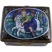 SUPERB FRENCH ENAMEL Crowned Saint on Bull Miniature Snuff Patch Box