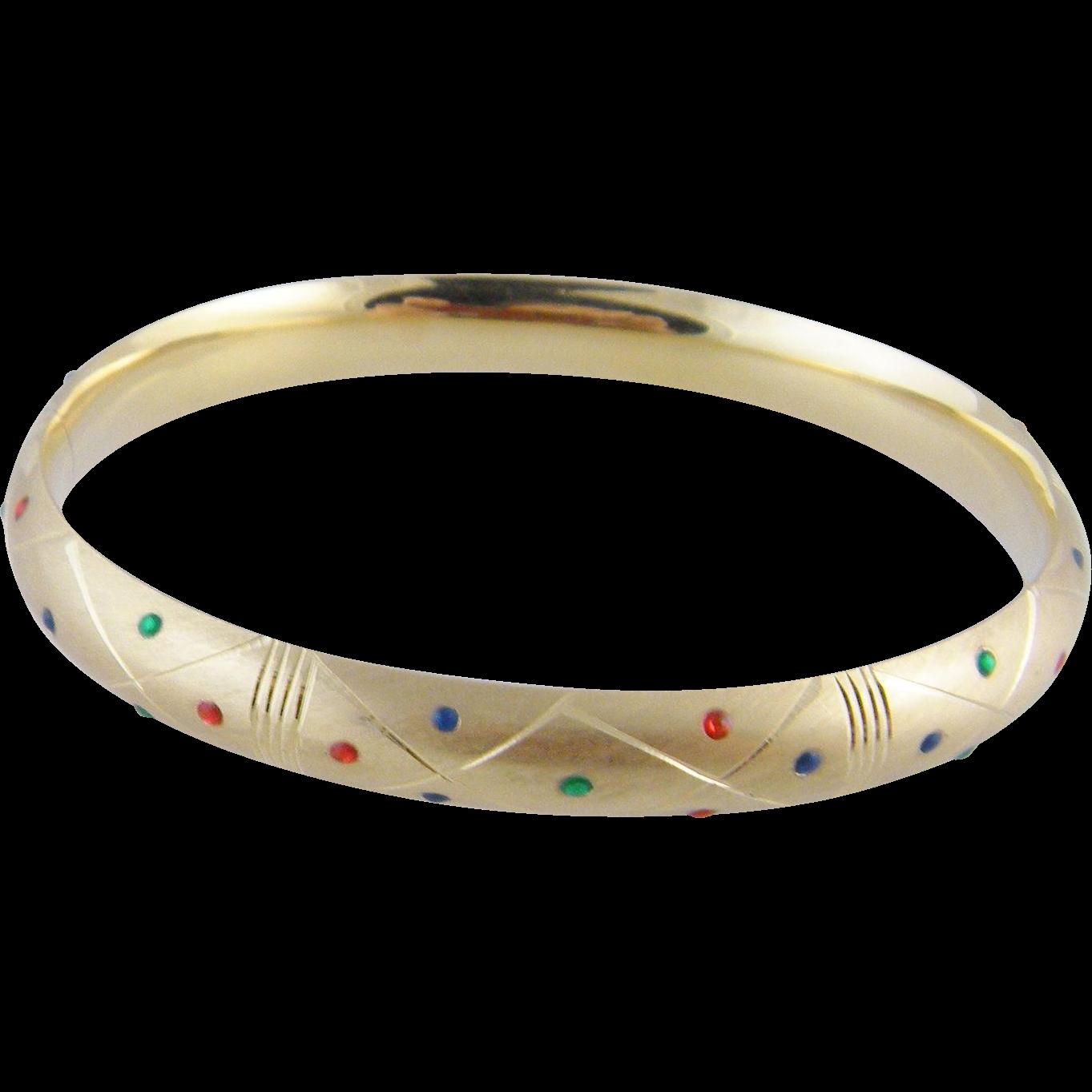 Superb Vintage 14 Karat Gold with  MULTI GEMSTONES Bangle Bracelet