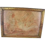 Antique 1800'S FRENCH SANGUINE DRAWING of Winged Cherub and Very Beautiful Woman