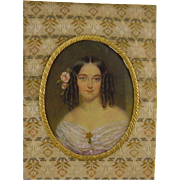 Antique Victorian  AMERICAN MINIATURE PORTRAIT Beautiful Woman in Bronze Frame