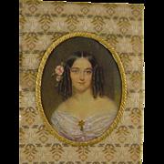 Antique Victorian  AMERICAN MINIATURE PORTRAIT Beautiful Woman in Bronze Frame