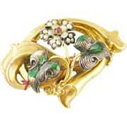 Antique ART NOUVEAU Gold Enamel and Seed Pearls Brooch