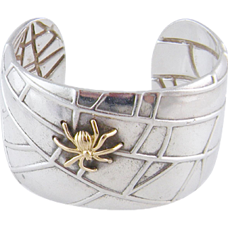 TIFFANY & CO ESTATE 18 Kt Gold and Sterling Silver  Spider in Web Iconic Cuff BRACELET