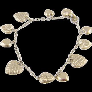 Antique Victorian Gold Charm Hearts  BRACELET