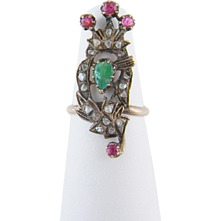 Rare Antique Georgian Gold  ROSE CUT DIAMONDS Emerald and Rubies Love Token Ring