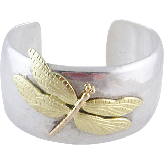 TIFFANY & CO ESTATE 18 Kt Gold and Sterling Silver Iconic Dragonfly Cuff Bracelet