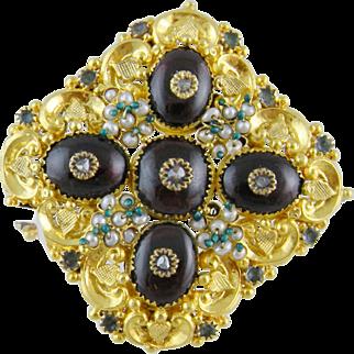 Antique Georgian 14 Kt Gold Monumental  ROSE CUT DIAMONDS Garnets Beryls Brooch