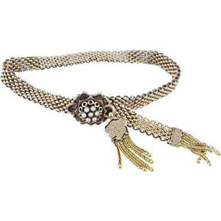 Antique Victorian 14 Kt Gold with Tassels and  SEED PEARL SLIDE BRACELET