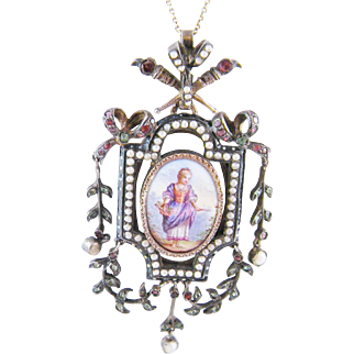 Antique Georgian Gold Silver Tourmalines and Seed Pearls  ENAMEL PAINTING PENDANT LOCKET