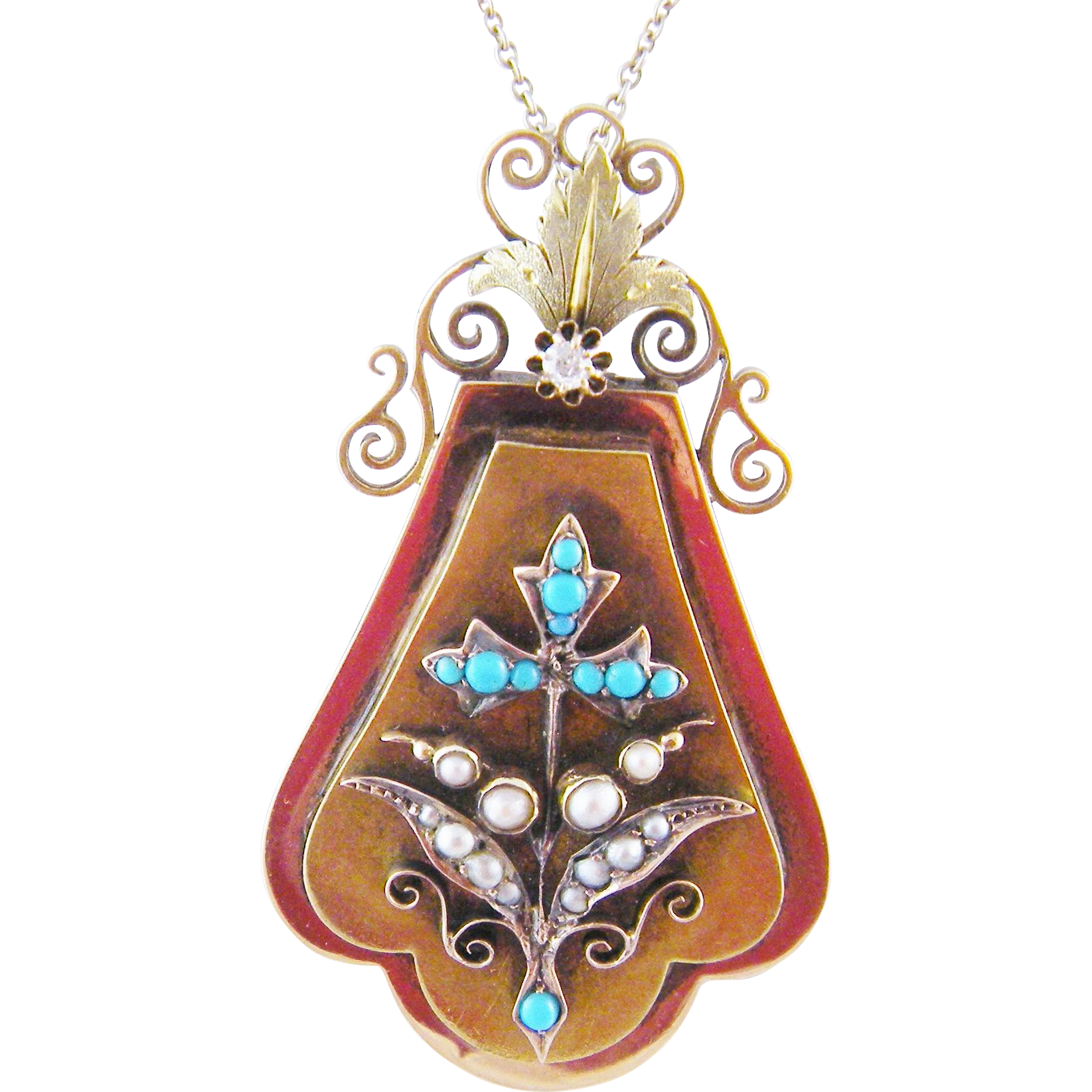 Antique 14 Kt  GOLD with TURQUOISE and Seed Pearls Pendant Locket