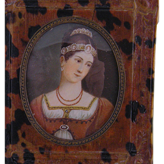 Antique  FRENCH MINIATURE PORTRAIT Beautiful Woman Jewelry Interest in faux Tortoise Shell Frame