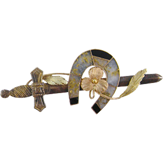 Antique 14 Kt Gold  SWORD with AGATE Horse Shoe Scottish Brooch