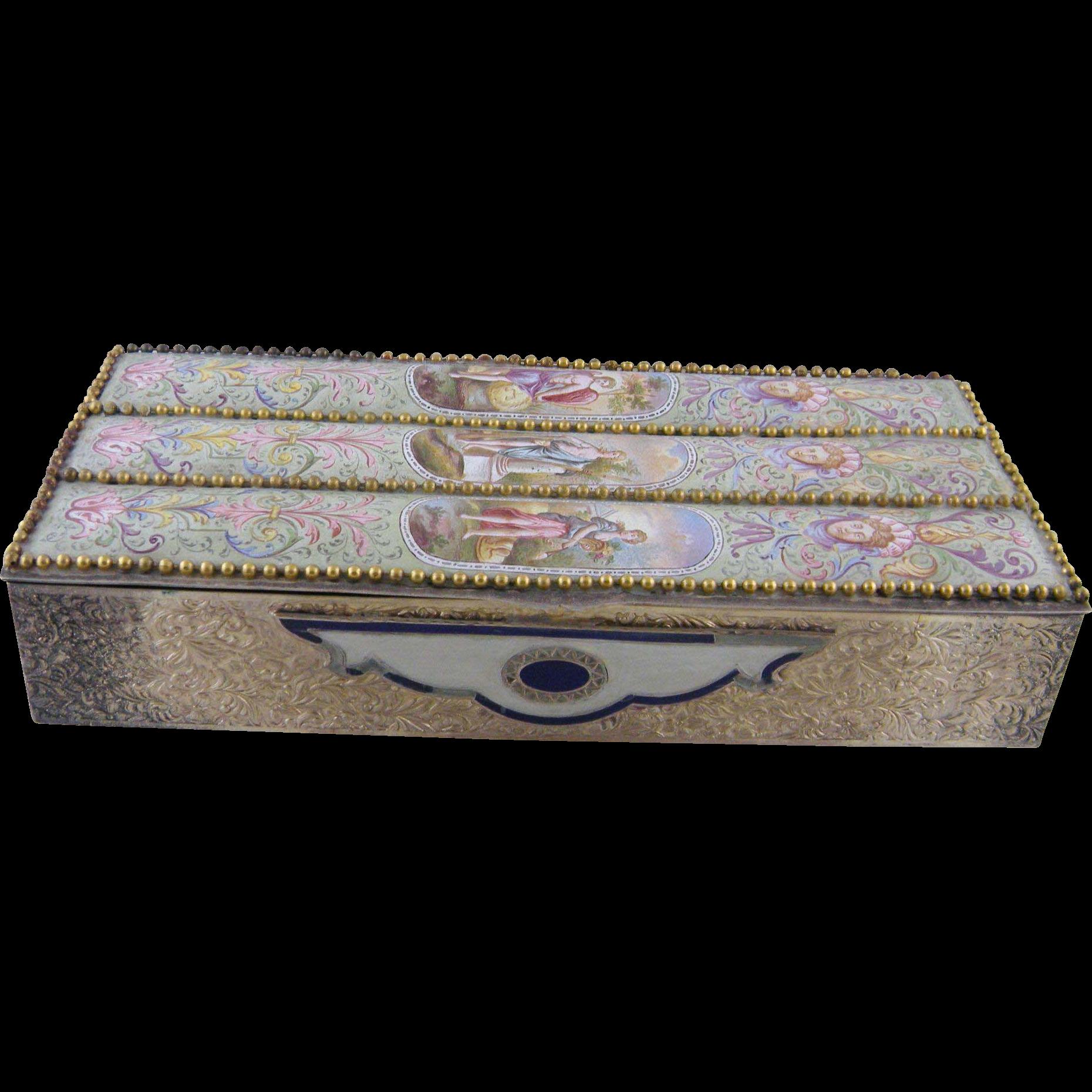 Antique  VIENNESE AUSTRIAN ENAMEL Classical Scenes Dresser Large Jewelry Box