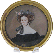 Antique 1830's Miniature Portrait of AMERICAN WOMAN in Mourning Garb