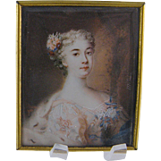 Antique  FRENCH MINIATURE PORTRAIT Beautiful Woman in an Embroidered Gown  signed Melloni