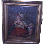 Antique  FRENCH 1800'S PAINTING Marie Antoinette and Her Children in a Gilt Frame