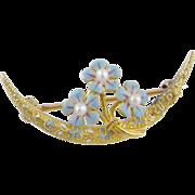 Antique Art Nouveau 14 KT GOLD KREMENTZ Blue Enamel Forget Me Nots Brooch
