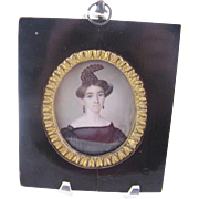 Antique Miniature Portrait 1832 Signed Beautiful Woman in Black  LISTED ARTIST FIEDLER