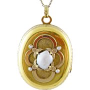 ANTIQUE 14 Kt Gold ENAMEL SCENE and Superb  Seed Pearls Locket Pendant