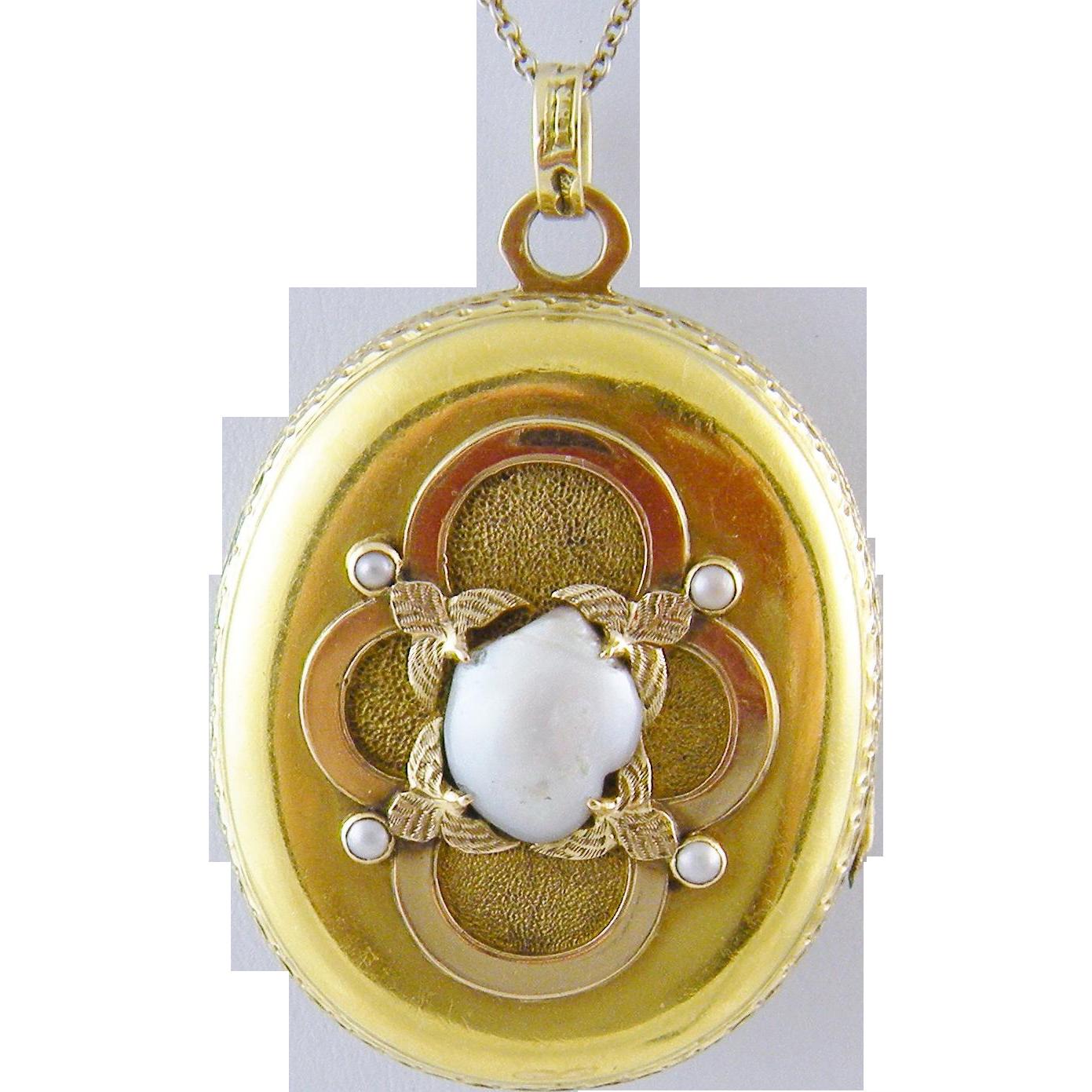 ANTIQUE 14 Kt Gold ENAMEL SCENE and Superb  Seed Pearls Locket Pendant