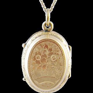 Antique  Victorian 10 Kt Gold Engraved Flowers  MEMENTO LOCKET Pendant