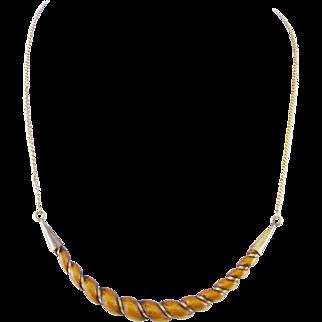 Antique 18 Kt  Gold CARVED HORN Crescent Pendant Signed Necklace