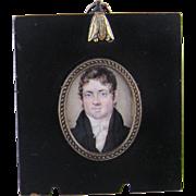 Antique  ENGLISH MINIATURE Portrait Handsome Gentleman in Black Jacket