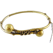 Antique 14 Kt  GOLD ETRUSCAN REVIVAL X Wires Decorated Double Balls Bracelet