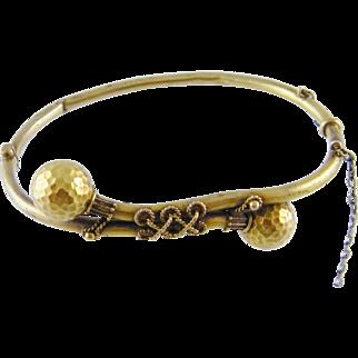 Antique 14 Kt  GOLD ETRUSCAN REVIVAL X Wires Decorated Double Balls Bracelet