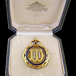 Antique 18 Kt Gold  GERMAN IMPERIAL CROWN Diamonds Sapphires Enamel in Original Crown Box