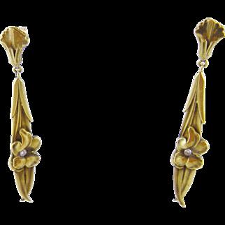 Rare Antique Art Nouveau 14 Kt Gold Long Floral CALLA LILY EARRINGS