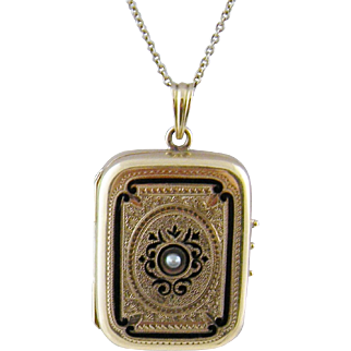 Antique Victorian 14 Kt Gold ENAMEL LOCKET Pendant with 4 Photo Case